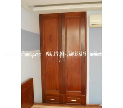Tủ âm tường bằng gỗ gõ đỏ