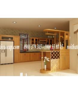 Tủ bếp gỗ sồi