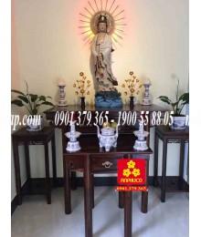 Bộ bàn thờ Phật gỗ Tràm bông vàng kiểu Đài Loan