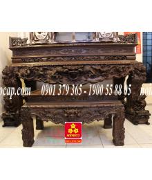 Bộ Sập thờ chạm Tứ Linh bằng gỗ Hương Ta