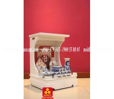 Mẫu bàn thờ Thần Tài đẹp màu trắng